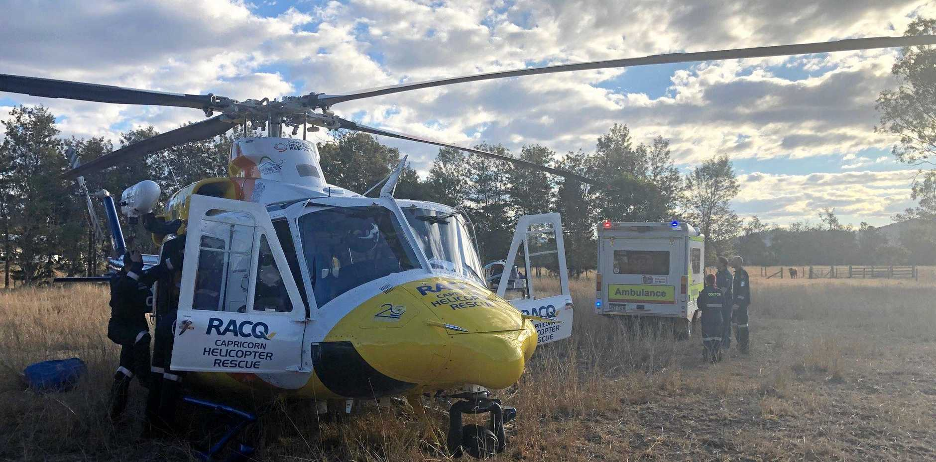 RACQ Capricorn Rescue was tasked to a rural property, about 104km south of Rockhampton, for a woman in her mid-20's who had suffered a spinal injury whilst falling off a horse.