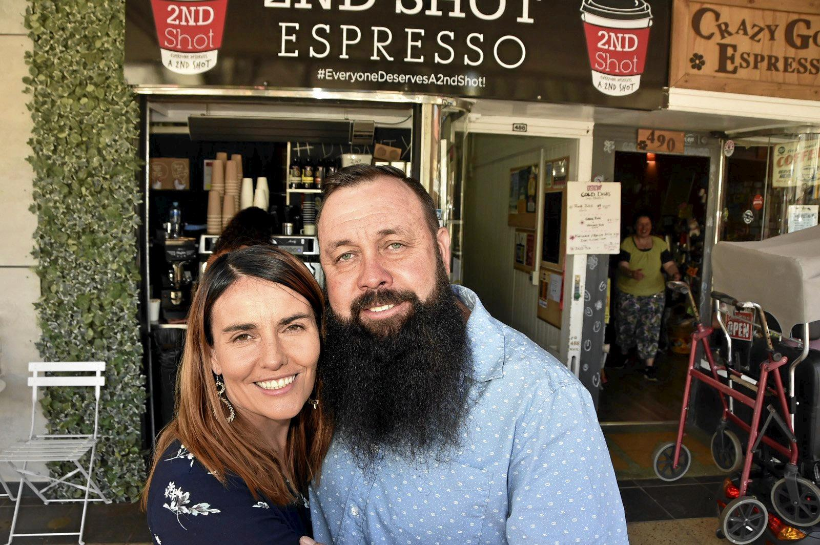 GAME CHANGER: Tiff and Nat Spary outside new social enterprise Second Shot Espresso, which opened in 2018.