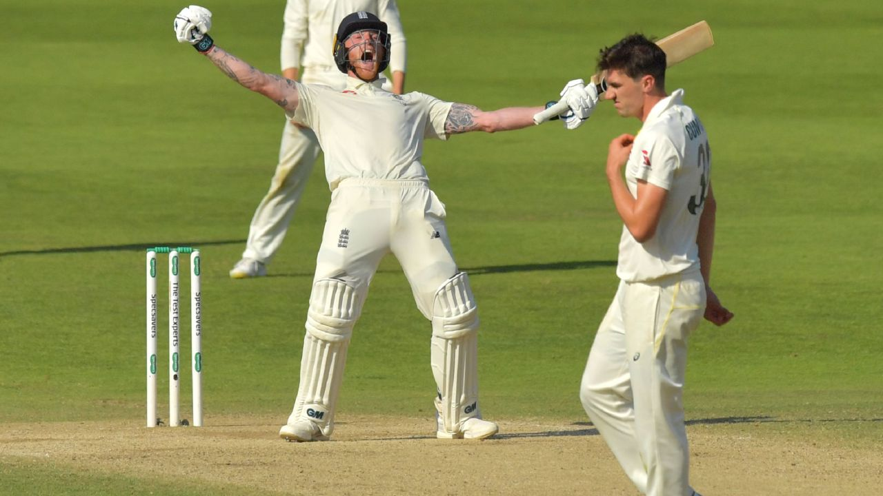 Ben Stokes celebrates after hitting the winning runs in Headingly.