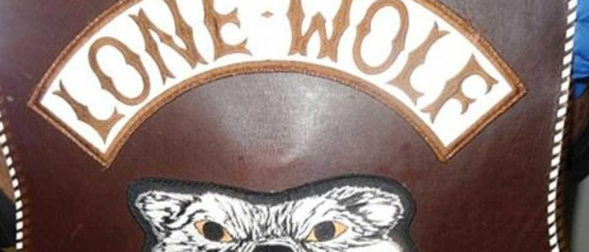 Lone Wolf bikie colours vest.