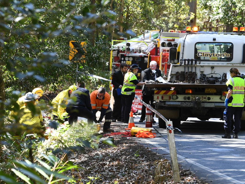 Police and Emergency Services at the scene of a fatal motorcycle accident on Maleny Stanley River Rd, Booroobin.