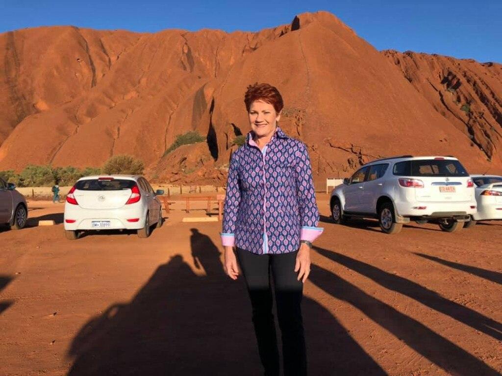 Pauline Hanson at Uluru. The senator was granted permission to climb the sacred site. Picture: Facebook
