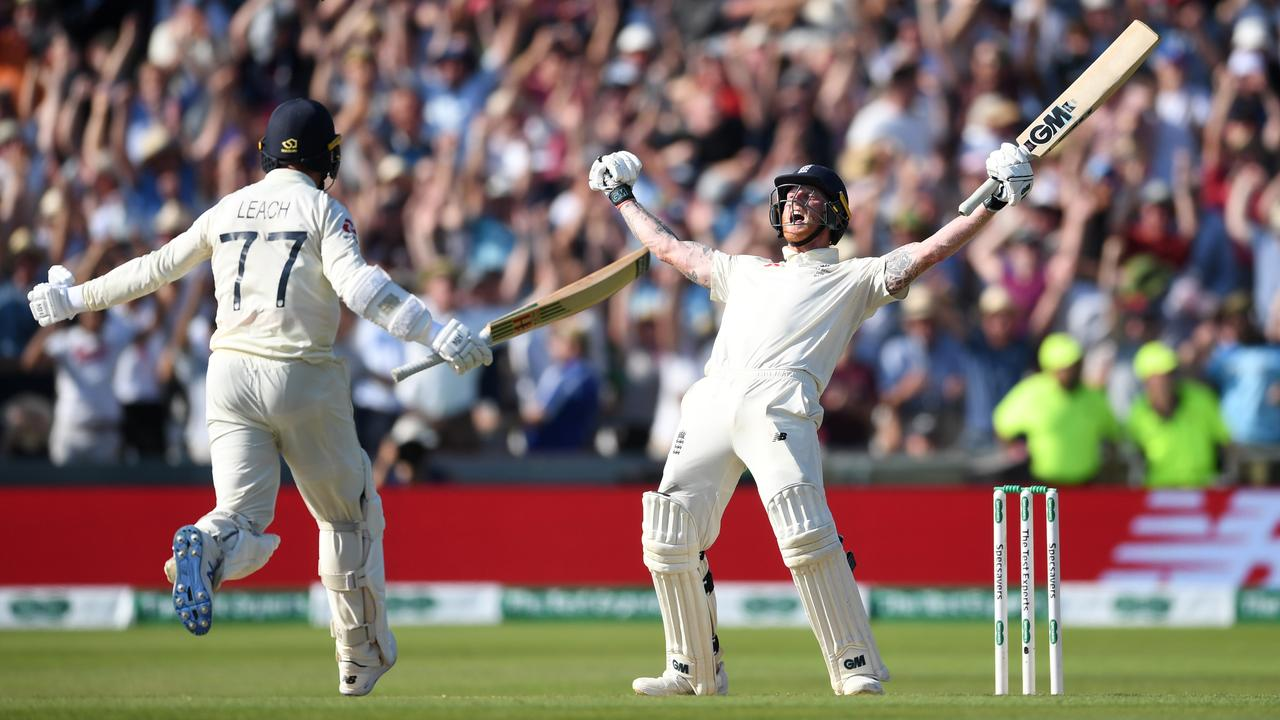 Jack Leach rushes to celebrate with Ben Stokes after the all-rounder struck the winning runs.