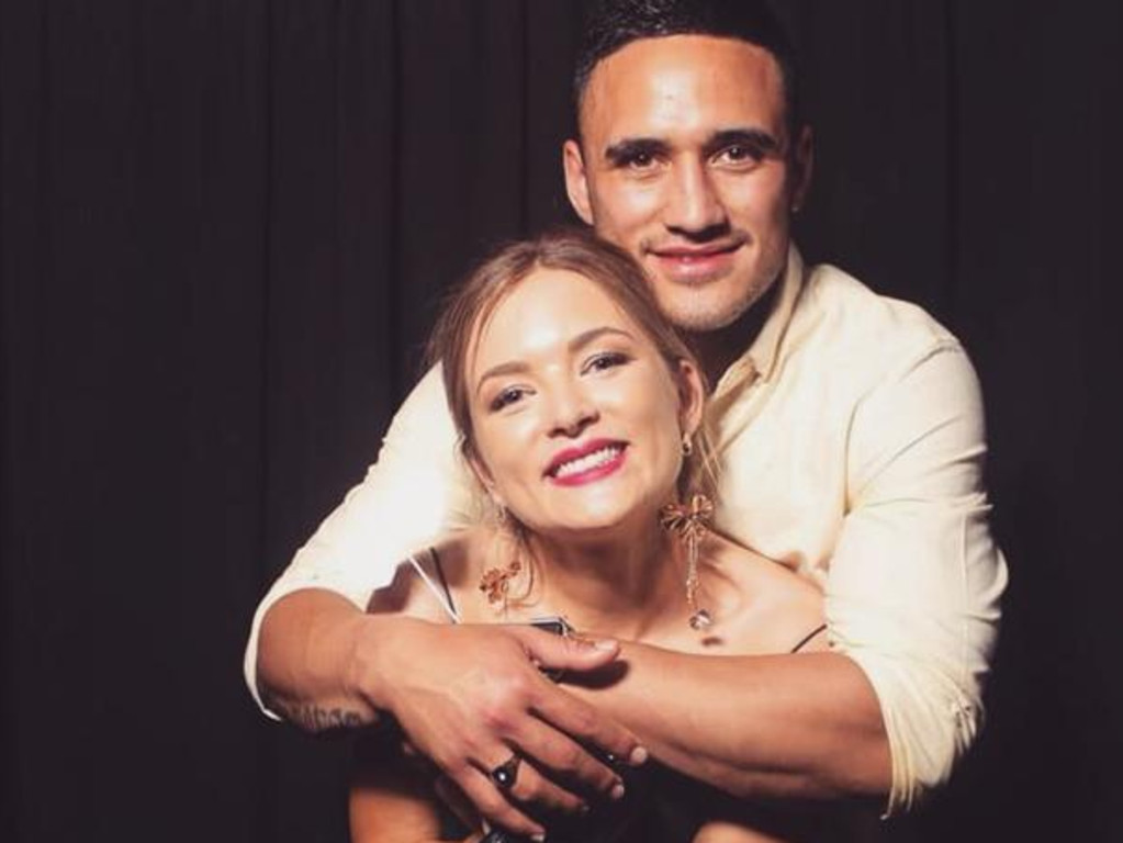 Valentine Holmes and his wife Natalia, who moved from Townsville to New York to join the NRL star. Photo: Instagram / @nataliaaholmes