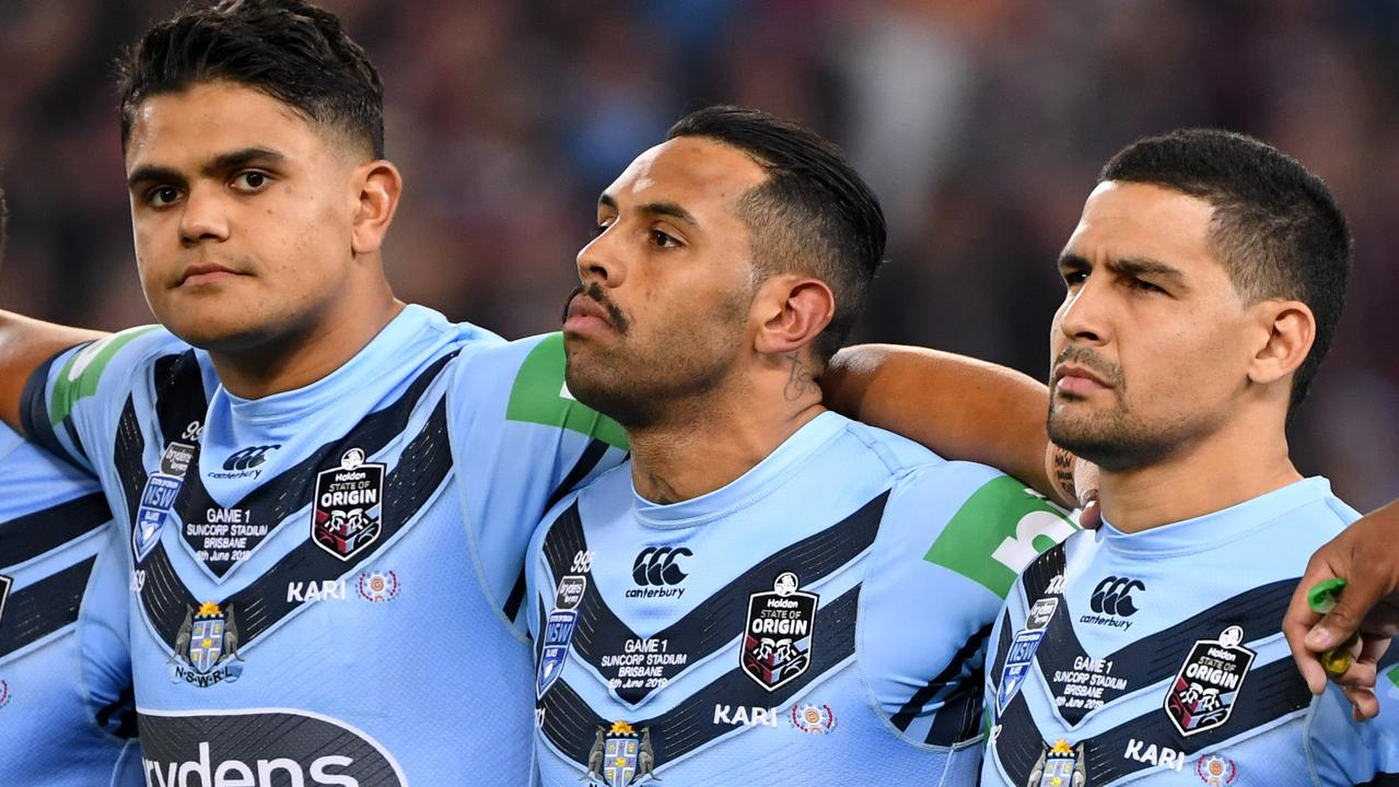 Blues brothers Latrell Mitchell, Josh Addo-Carr and CodyWalker are staying strong. Photo: AAP Image/Dave Hunt
