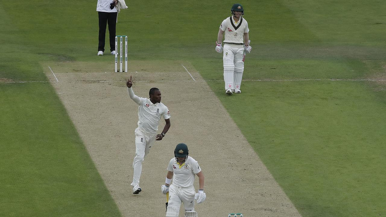 Jofra Archer celebrates taking the wicket of Marcus Harris. Picture: Getty Images