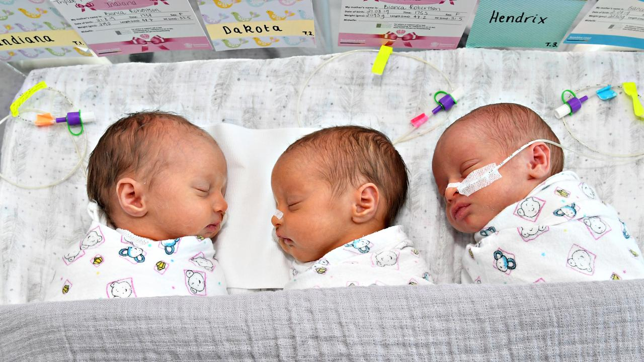 THREE'S A CHARM: Indiana, Dakota and Hendrix are the first triplets born at the Sunshine Coast University Hospital. Photo Warren Lynam