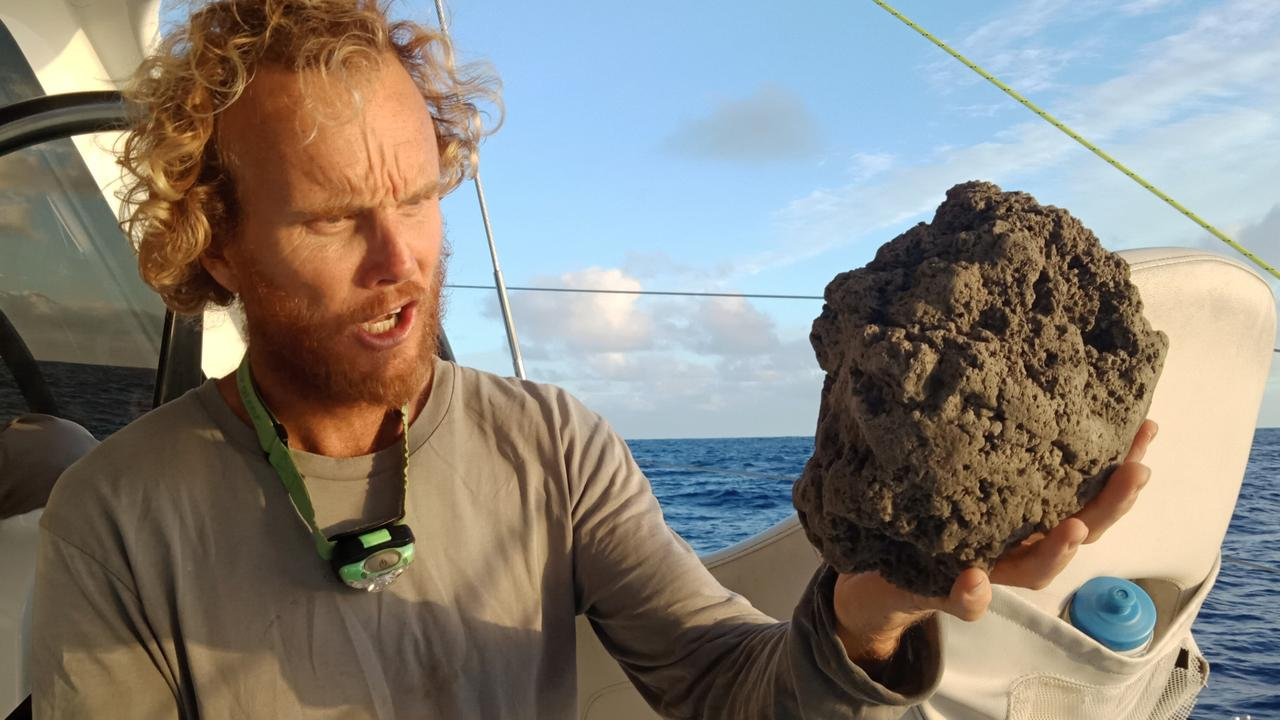 Michael Hoult from SailSurfROAM encountered a giant pumice raft while sailing near Tonga. PICTURE: SUPPLIED