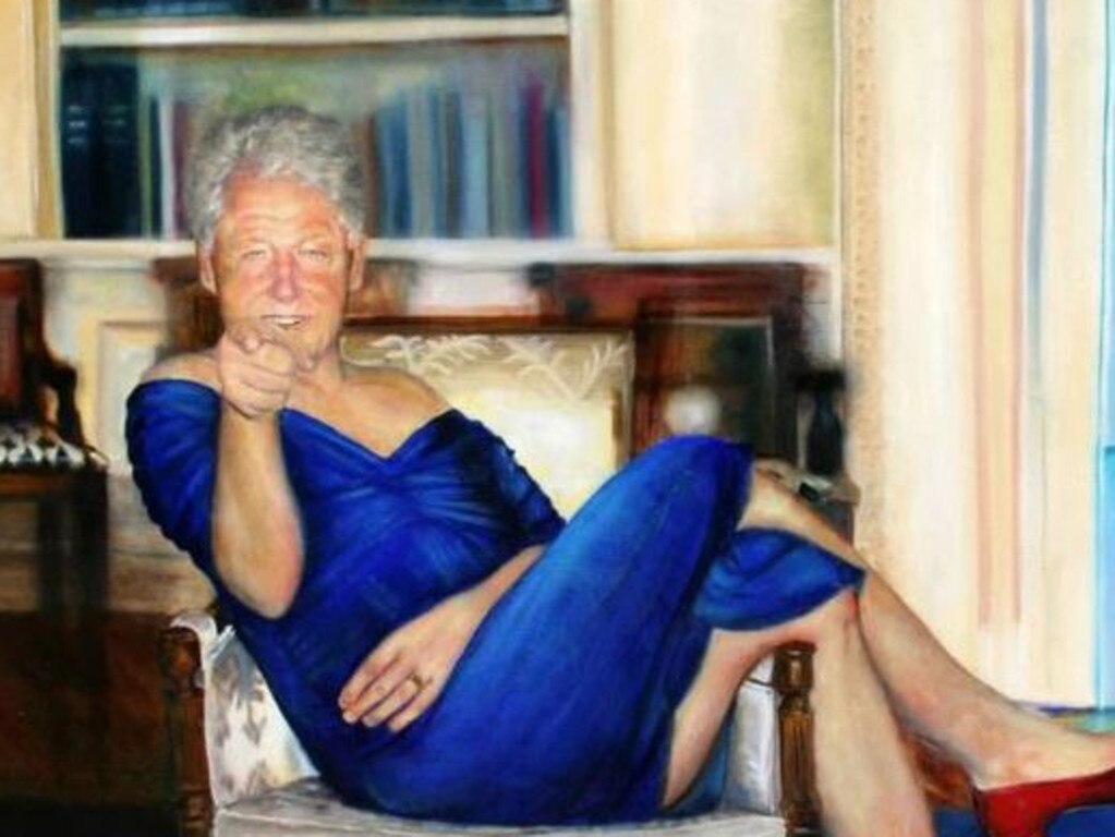 The painting of former US President Bill Clinton found hanging in Epstein's mansion. Picture: Supplied