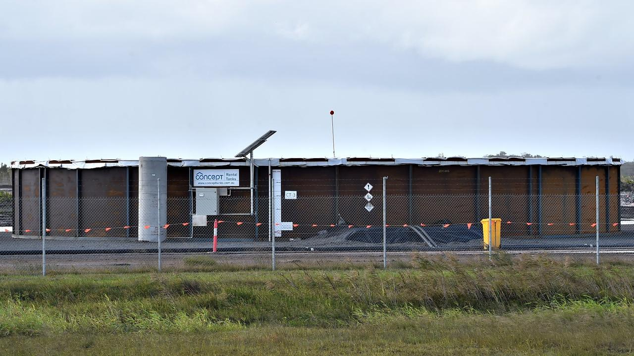 Water storage tanks at the Sunshine Coast Airport.