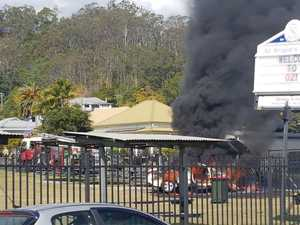 Car crashes, catches fire in school playground