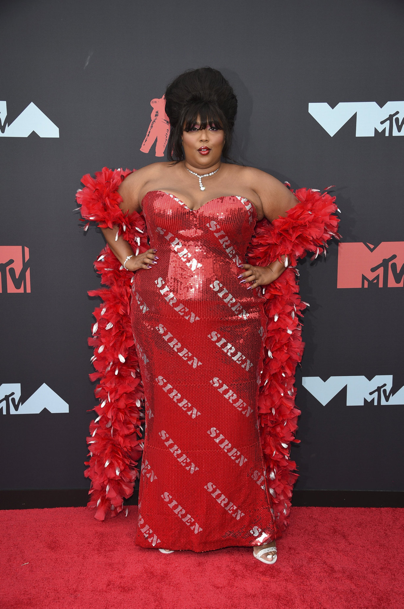 Lizzo arrives at the MTV Video Music Awards at the Prudential Center on Monday, Aug. 26, 2019, in Newark, N.J.