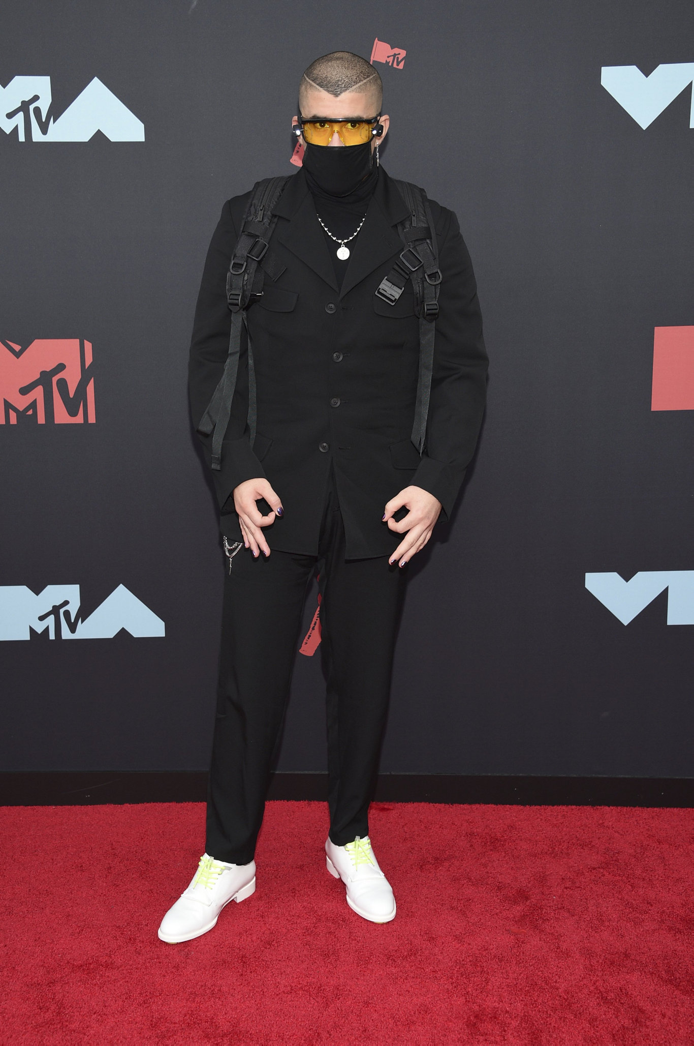 Bad Bunny arrives at the MTV Video Music Awards at the Prudential Center on Monday, Aug. 26, 2019, in Newark, N.J.