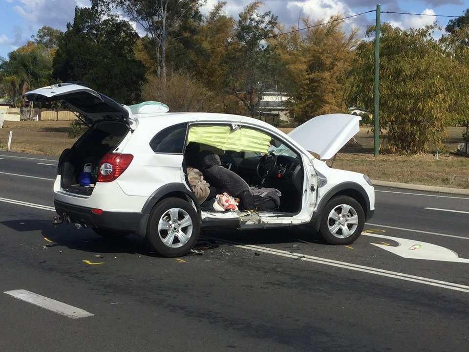 SOCIAL MEDIA IMAGE DISCUSS USE WITH YOUR EDITOR - Cars involved in a crash at Howard about 12.15pm today at the intersection of Thomas St and the Bruce Hwy.