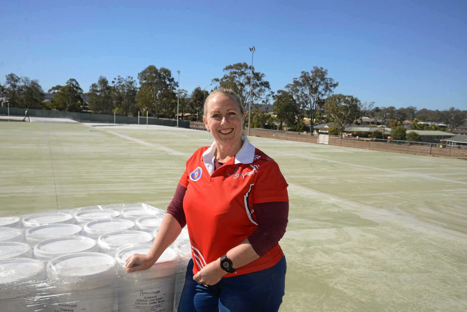 EXPANSION: Linda Bunch is particularly  proud of the new courts being constructed at Warwick Netball Association headquarters at Barnes Park.