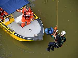 Emergency services perform rescue high above Bremer River