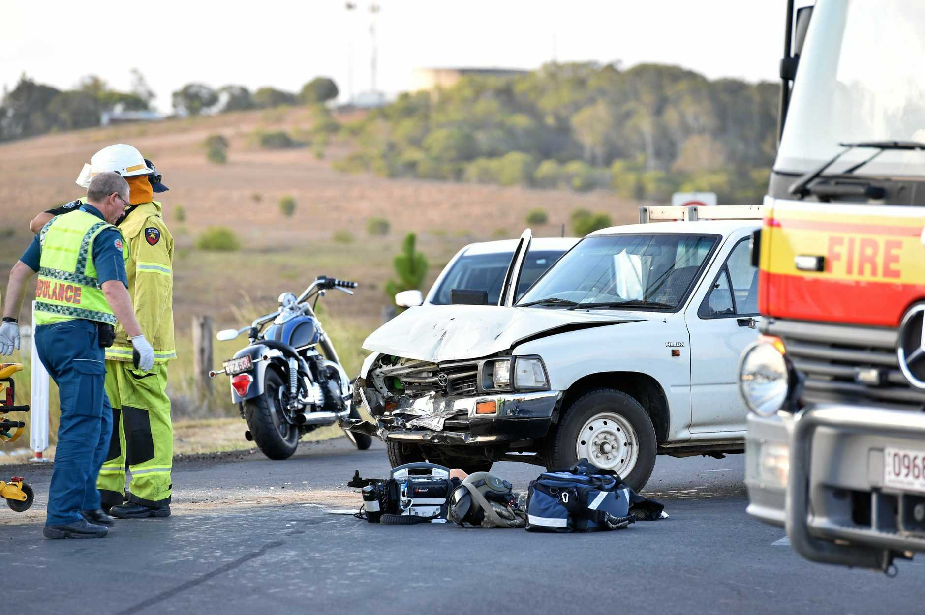 Two vehicle crash between a motorcycle and a utility at the intersection of Chapel Rd and Main St at Nikenbah in September 2017.