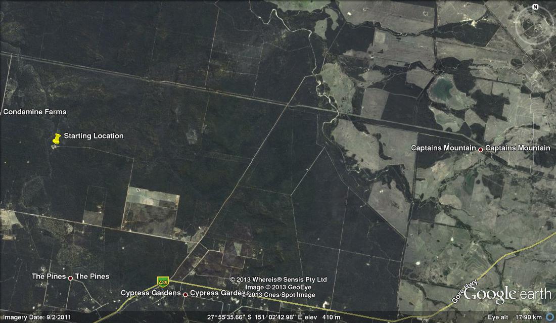 Location of Harvey Groszmann's forest, west of Millmerran.