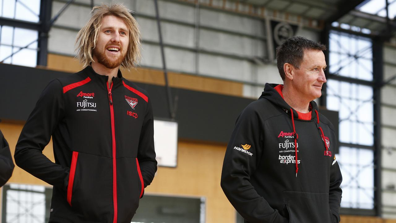 Dyson Heppell and Bombers head coach John Worsfold. (Photo by Daniel Pockett/Getty Images)