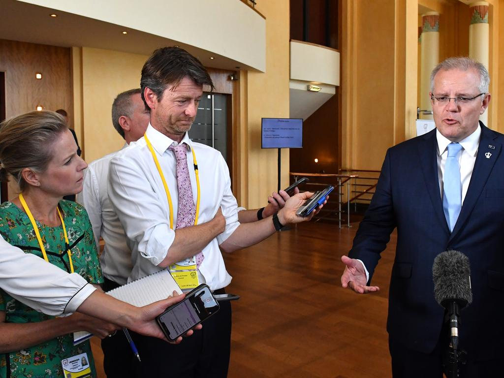 Australia's Prime Minister Scott Morrison talks to media at the G7 Summit. Picture: AAP