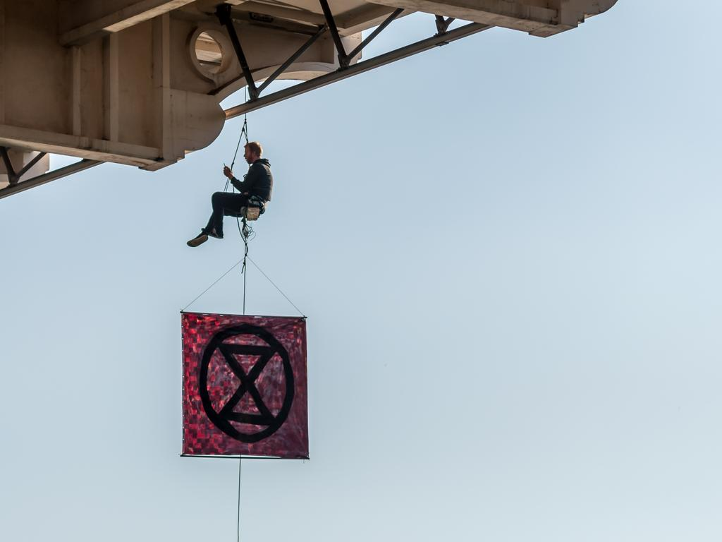 Sean Nolan hanging under the William Jolly Bridge in Brisbane on Monday, August 19, 2019. Picture: Supplied.