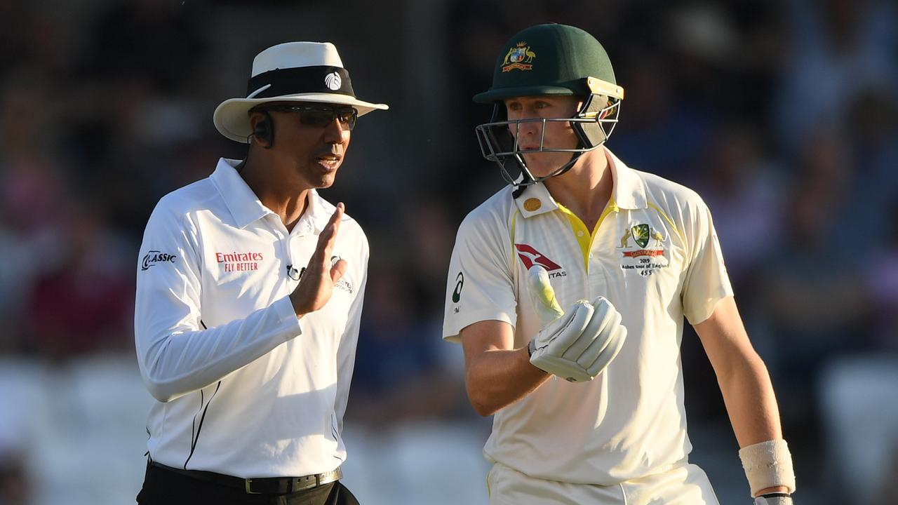 Umpire Joel Wilson chats with Aussie batsman Marnus Labuschagne. Pic: Getty Images