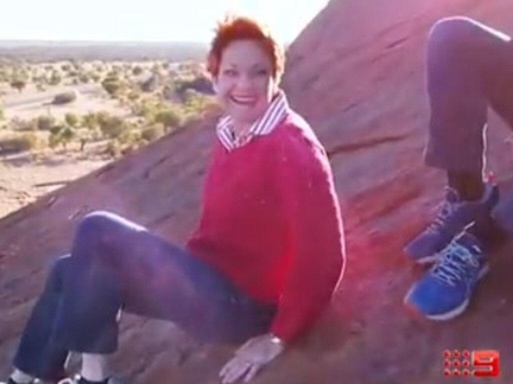 Pauline Hanson was all smiles on Uluru. Picture: Channel 9