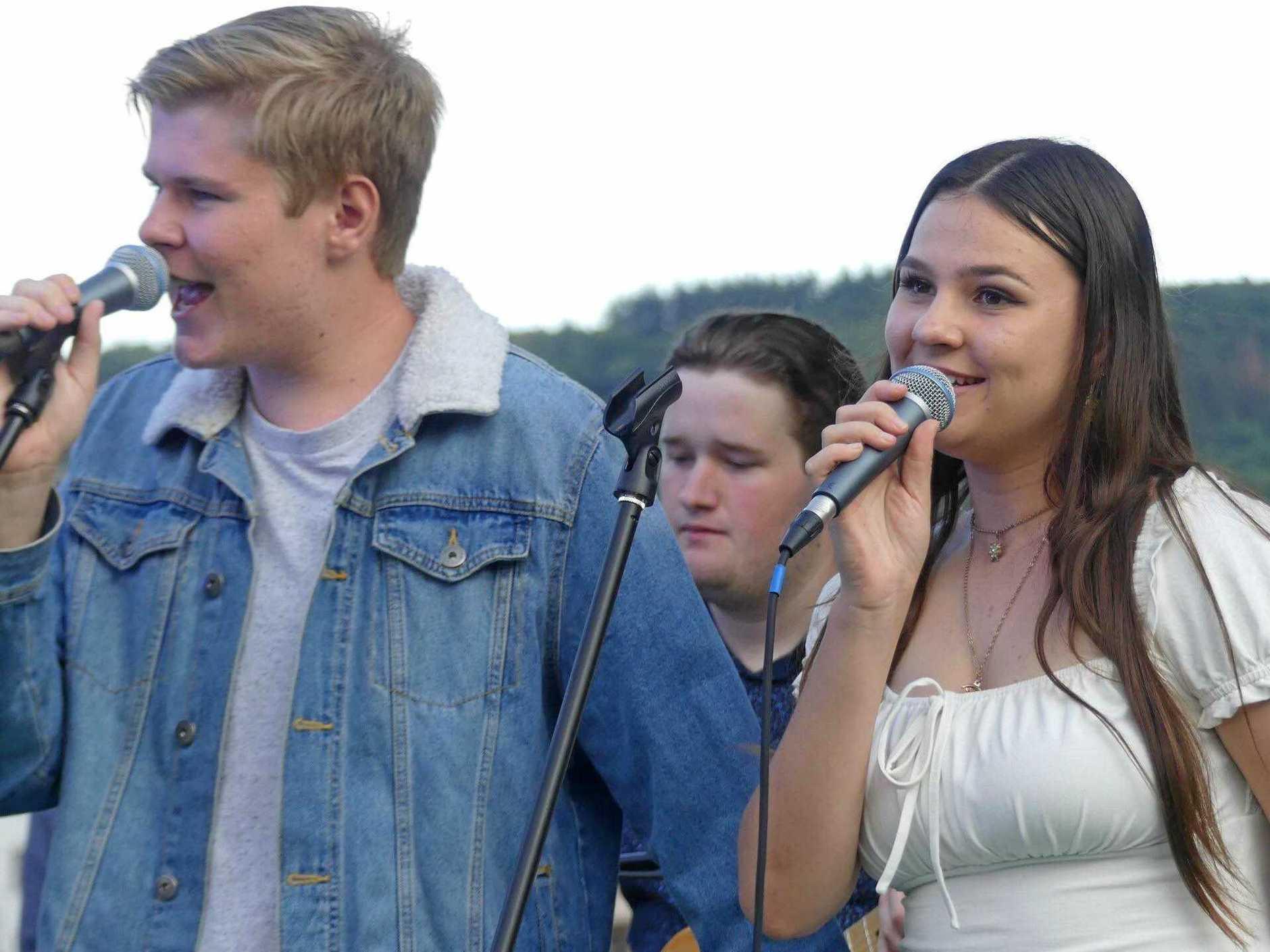 SUPER STARS: Kobe McNaught and Rachel Damms, both 16, who make up Hervey Bay singing duo Melomania.