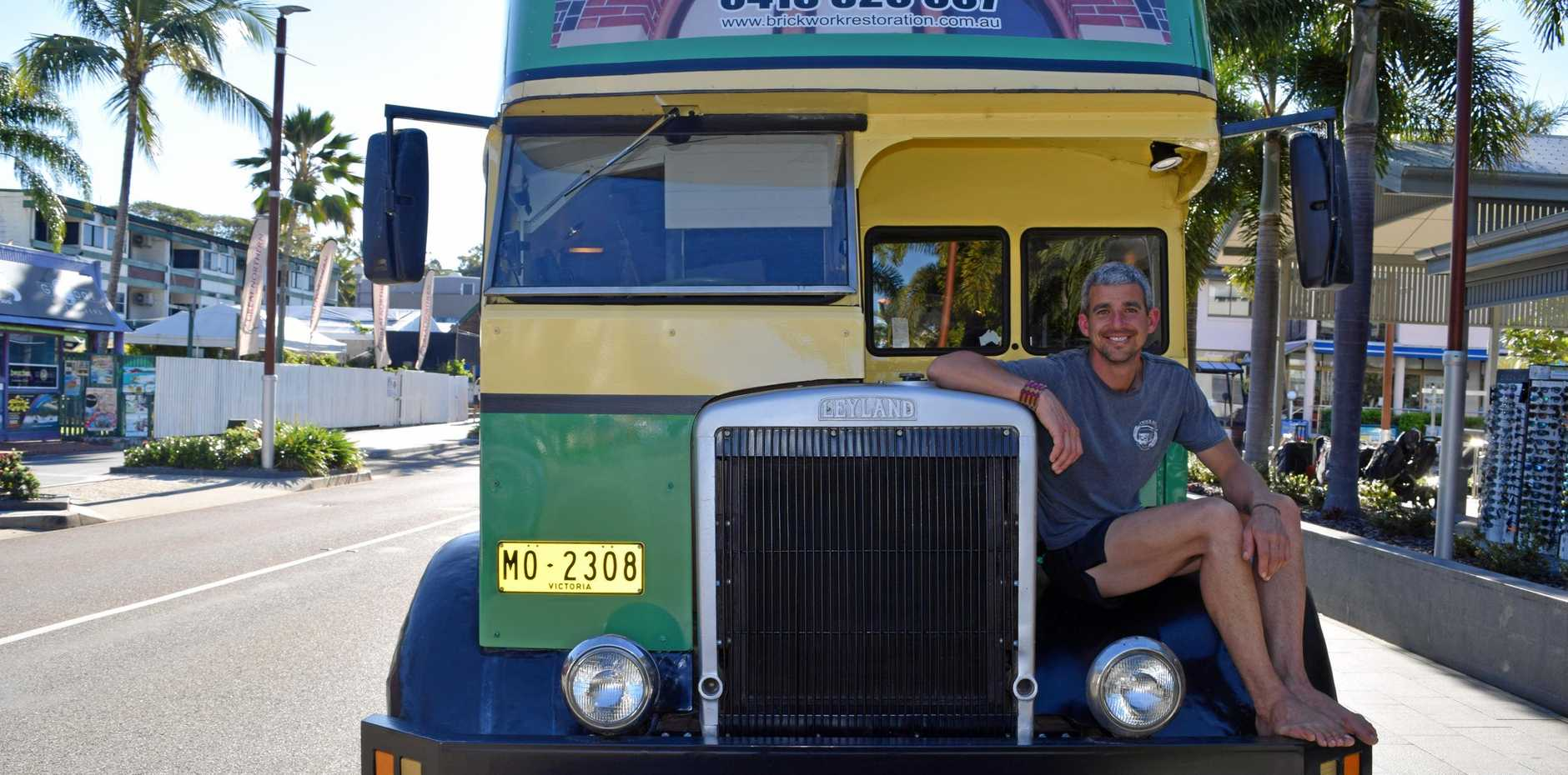 Lorie Norton is travelling around Australia on his restored double decker bus raising money for charity Eli's Gift.