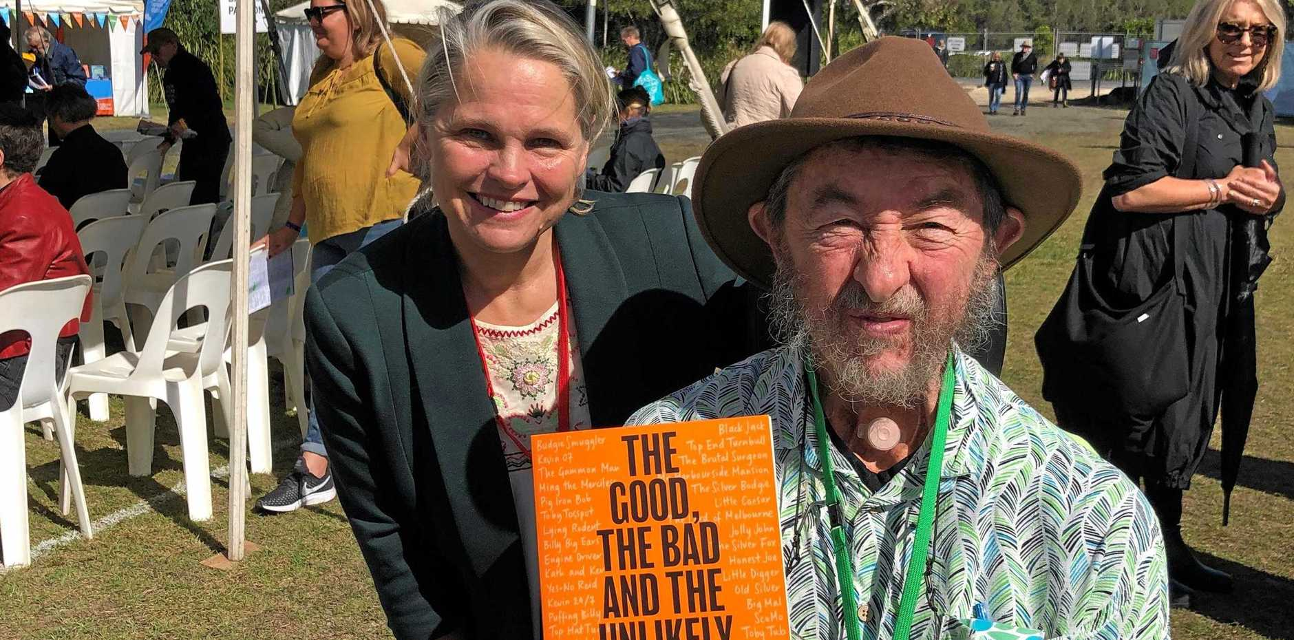 WORDS LOUDER THAN ACTION: Sophie Moeller and Mungo MacCallum at The 2019 Byron Bay Writers Festival.