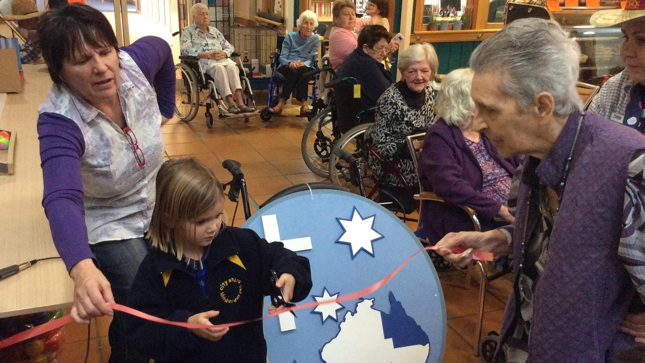 Caloundra City Private School Kindergarten students bond with the Southern Cross Care residents.
