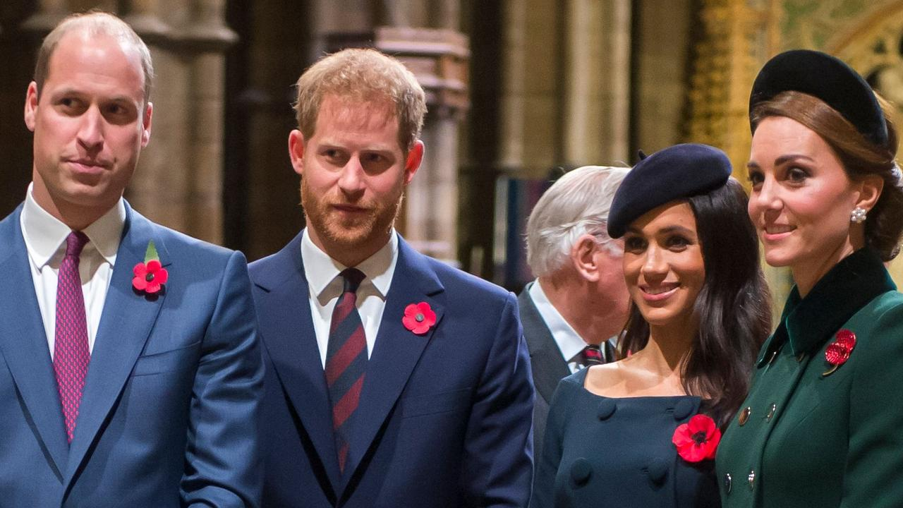 (L-R) Britain's Prince William, Duke of Cambridge, Prince Harry, Duke of Sussex, Meghan, Duchess of Sussex and Catherine, Duchess of Cambridge. Picture: AFP