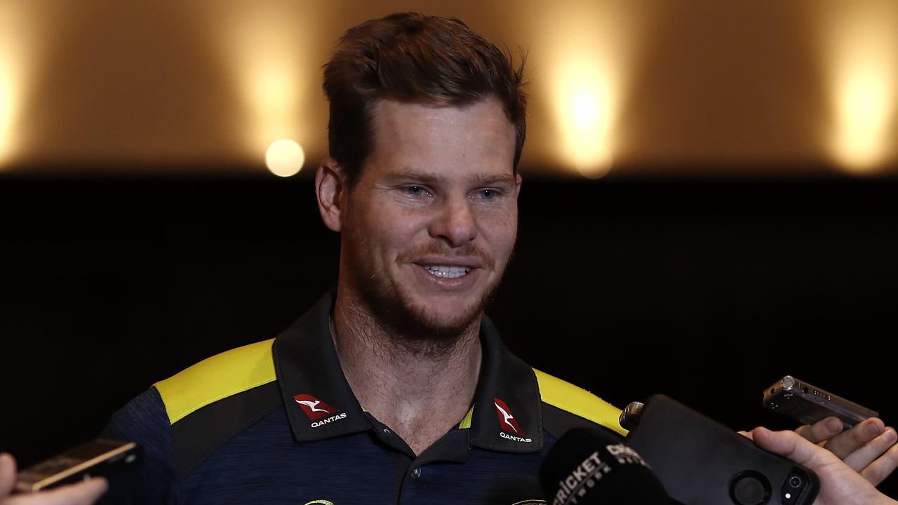 Steve Smith talking in Leeds after the third Test. Picture: Getty Images