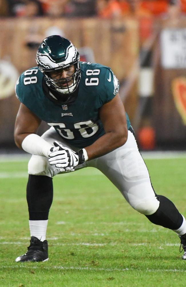 Jordan Mailata will likely be one of four Australians in action. Picture: Nick Cammett