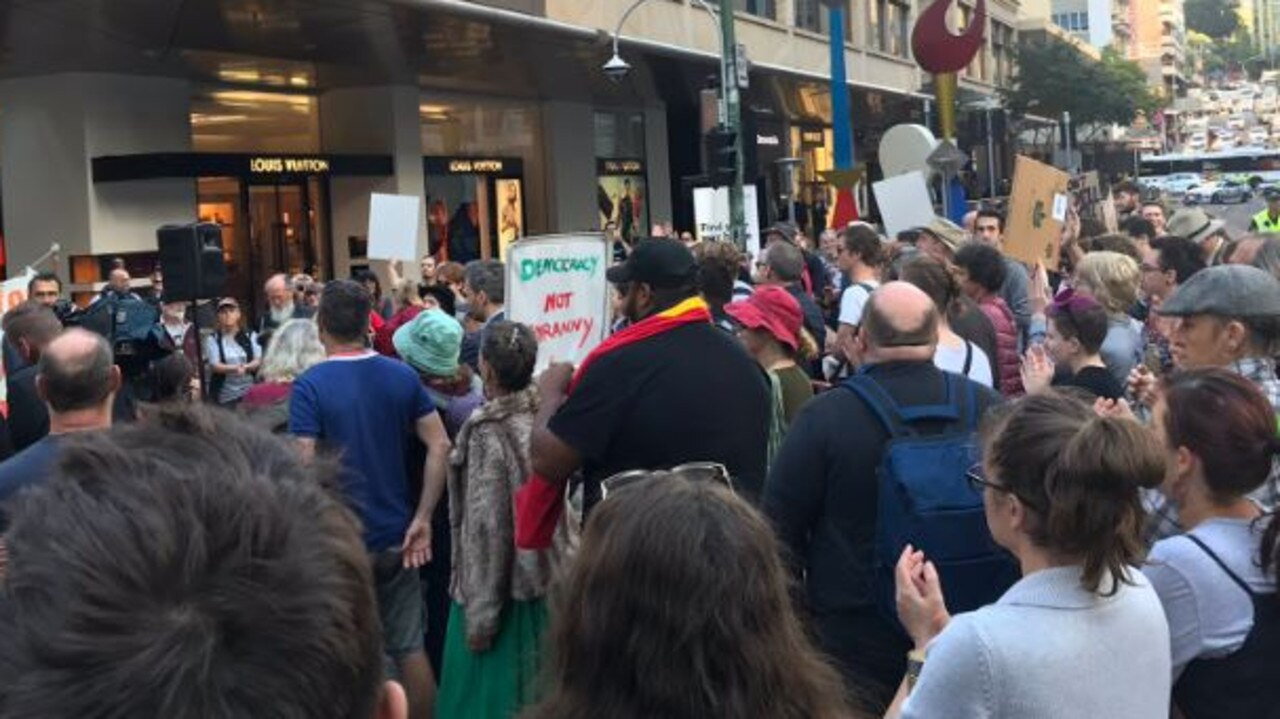Protesters block the intersections of Margaret and Queen streets in the Brisbane CBD. PIcturwe