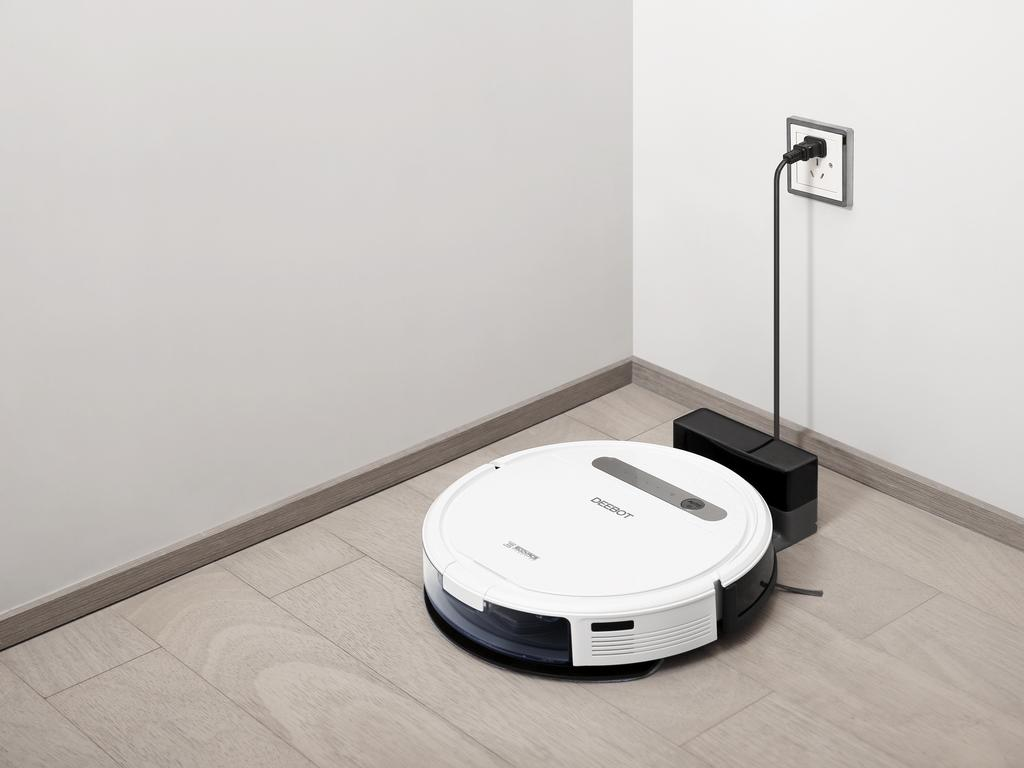 The robo-vac goes back to its charging station when it's low on battery.