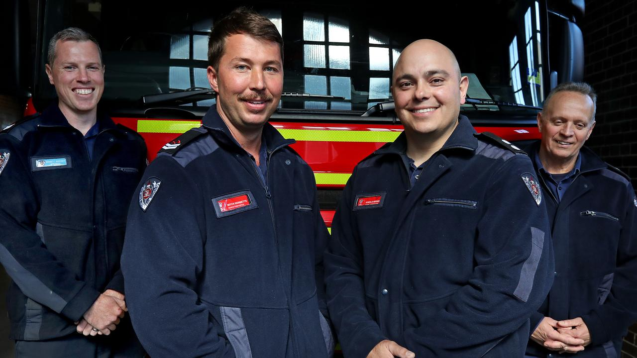 The four heroic firefighters from Drummoyne station Bennett Gardiner (from left), Mitch Bennetts, Gonzalo Herrera and Mike Stuart. Picture: Toby Zerna