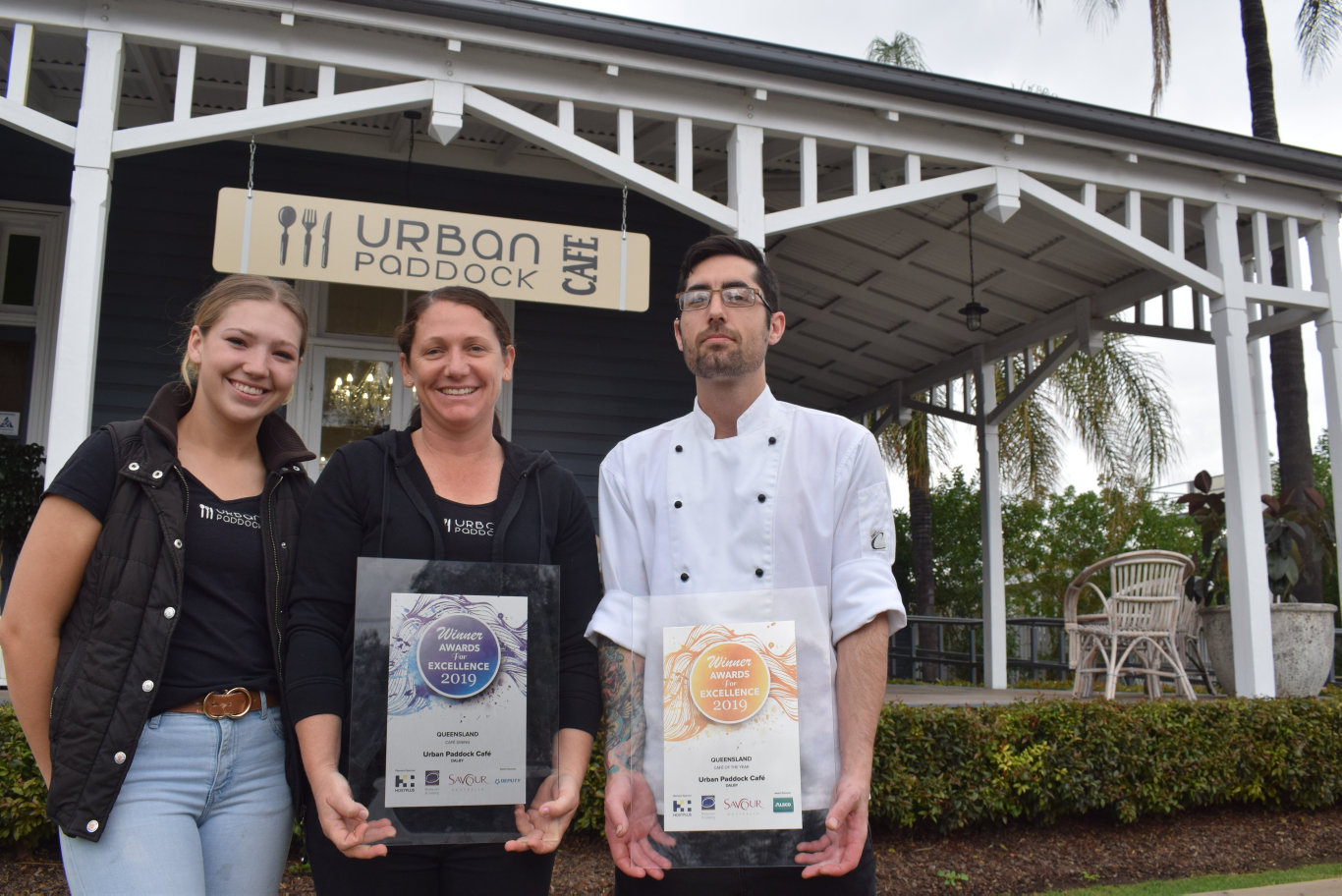 Holly Bradley, Melissa Harms and Caleb McKinnon from Urban Paddock are celebrating their major prize win at the QLD & NT Savour Australia Restaurant & Catering Hostplus Awards for Excellence.