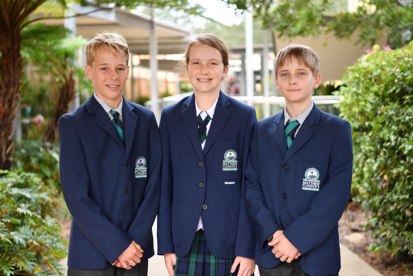 NAPLAN: Students from Matthew Flinders College who participate in Naplan testing are Tom Basford, Elizabeth Setchell and Aidan Chumbley. Photo Patrick Woods / Sunshine Coast Daily