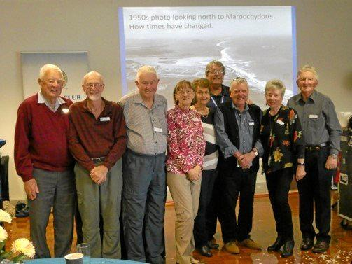 Kawana Waters Probus club Past Presidents: (left to right): Graeme Armstrong, Leigh Baker, Geoff Cole, Barbara Cugley, Pam Fletcher, Graeme Rowe, Jenny Baker, Brian Clark with current President, Mike Matthews in the background.