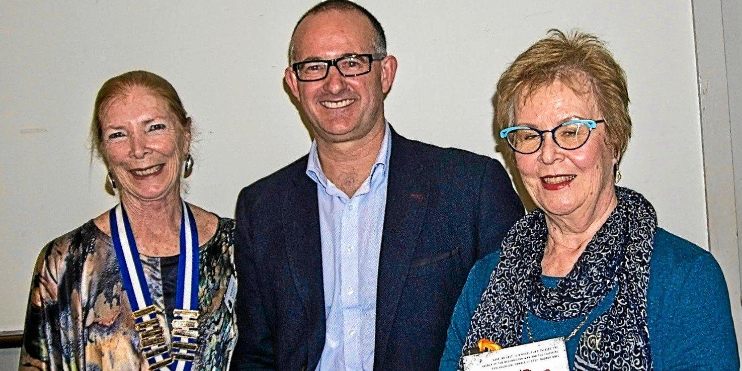 (Left to right): Buderim East Probus Club President Marilyn Keelty, guest speaker Simon Cleary and the proposer of the vote of thanks member Judy Mawbey.