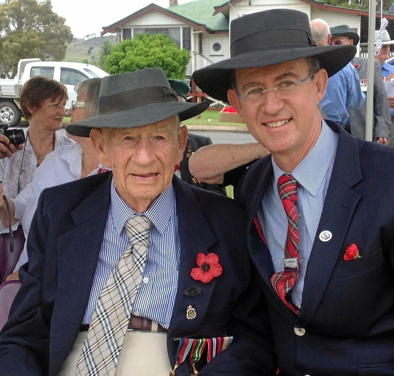 PROUD FAMILY: Jamie with his late father and World War II veteran Bruce Mackenzie at the Killarney Remembrance Day Service.