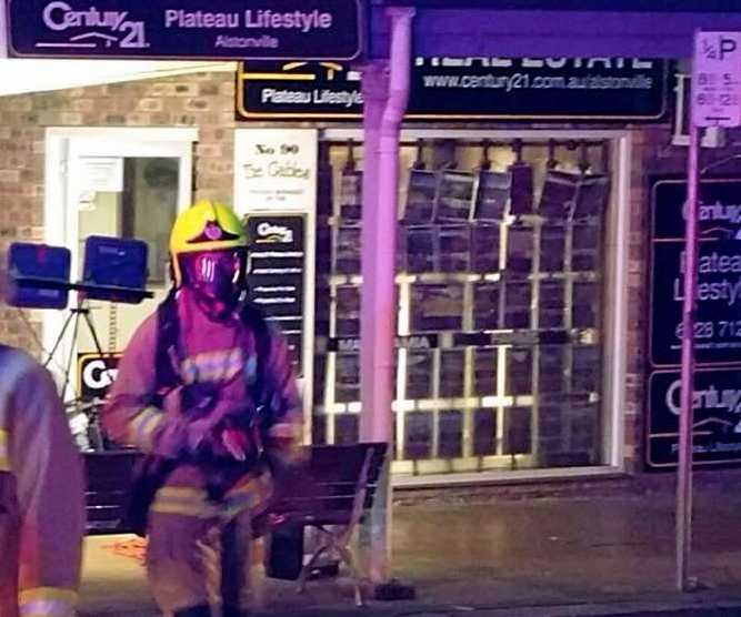 NSW Fire & Rescue Alstonville crews at the scene of a business fire in Main St.