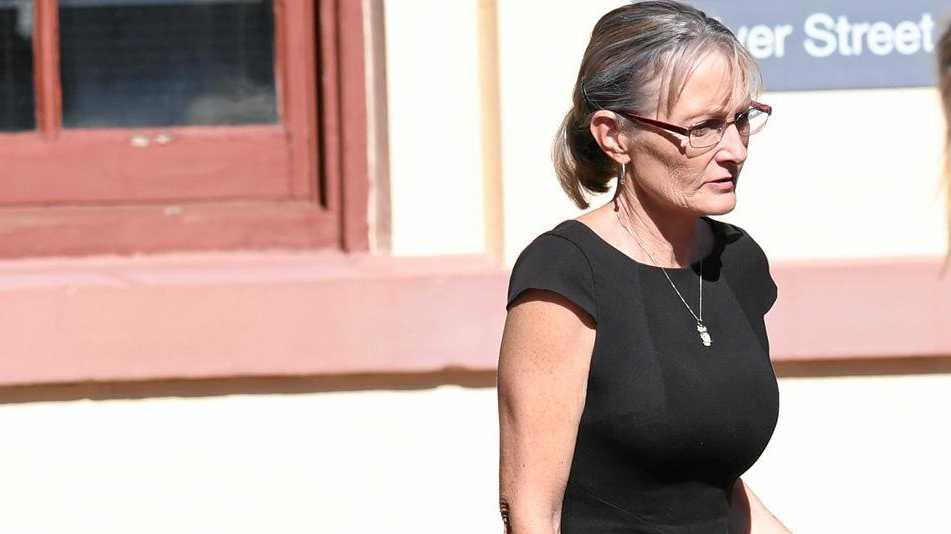 Alstonville woman Julianne Marree Butler, wearing black dress, outside Ballina Court.