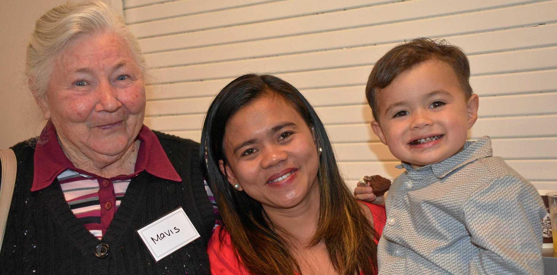 Mavis Rasmussen, Marevel and McKenzie Garland enjoy the SB Care celebrations.