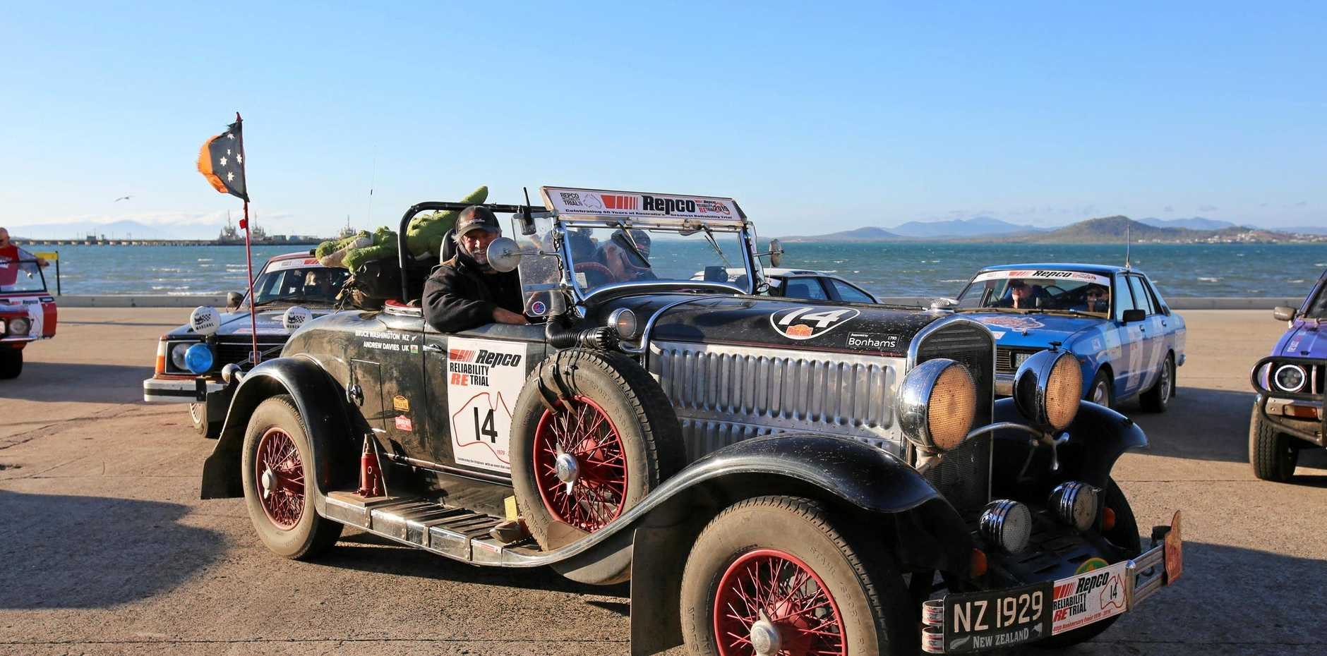 The oldest car on the race, a 1929 Chrysler 75 Roadster, draws attention where ever it goes.