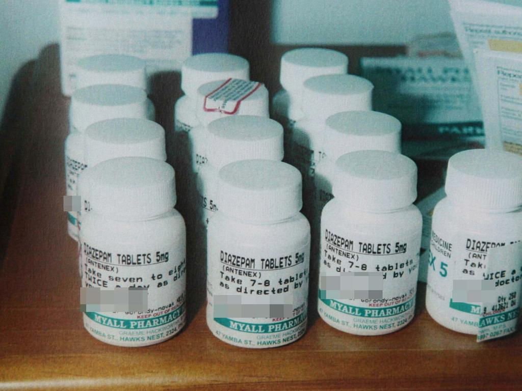 BW was taking 25 valium tablets daily (above, a stash at the Hawks Nest house) at the time of his daughter's appalling death.