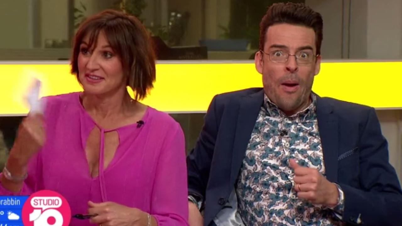 The Studio 10 panel looked shocked as Rachael dropped the expletive on the popular live morning show. Photo: Ten