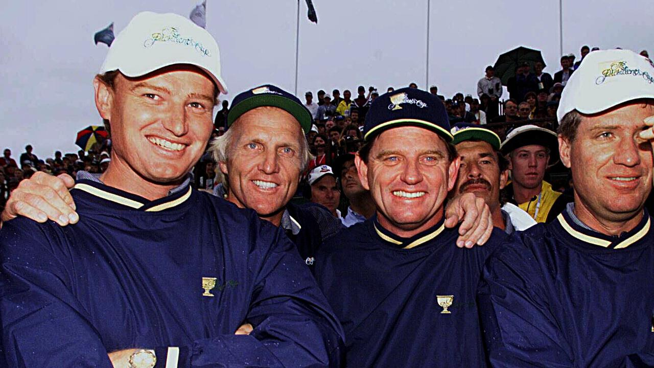 Ernie Els with Greg Norman, Nick Price and Steve Elkington celebrate after defeating the USA team in the 1998 Presidents Cup at Royal Melbourne.