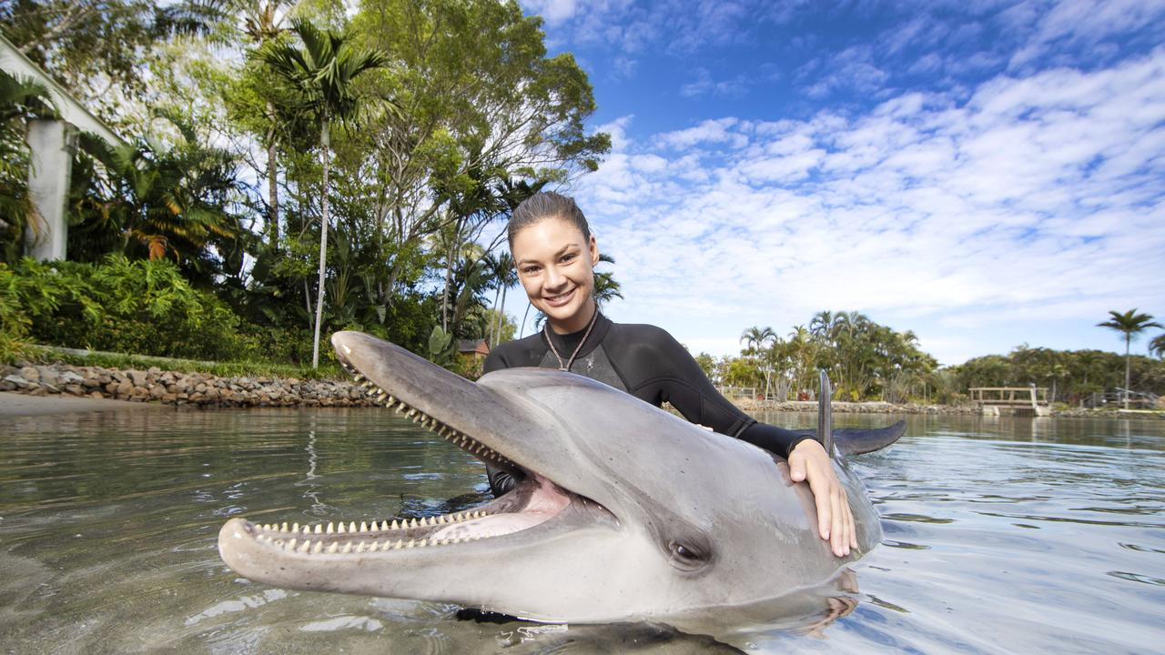 Marine mammal trainer Brooke Pelizzari bonding with dolphin Scooter at Sea World. Picture: NIGEL HALLETT